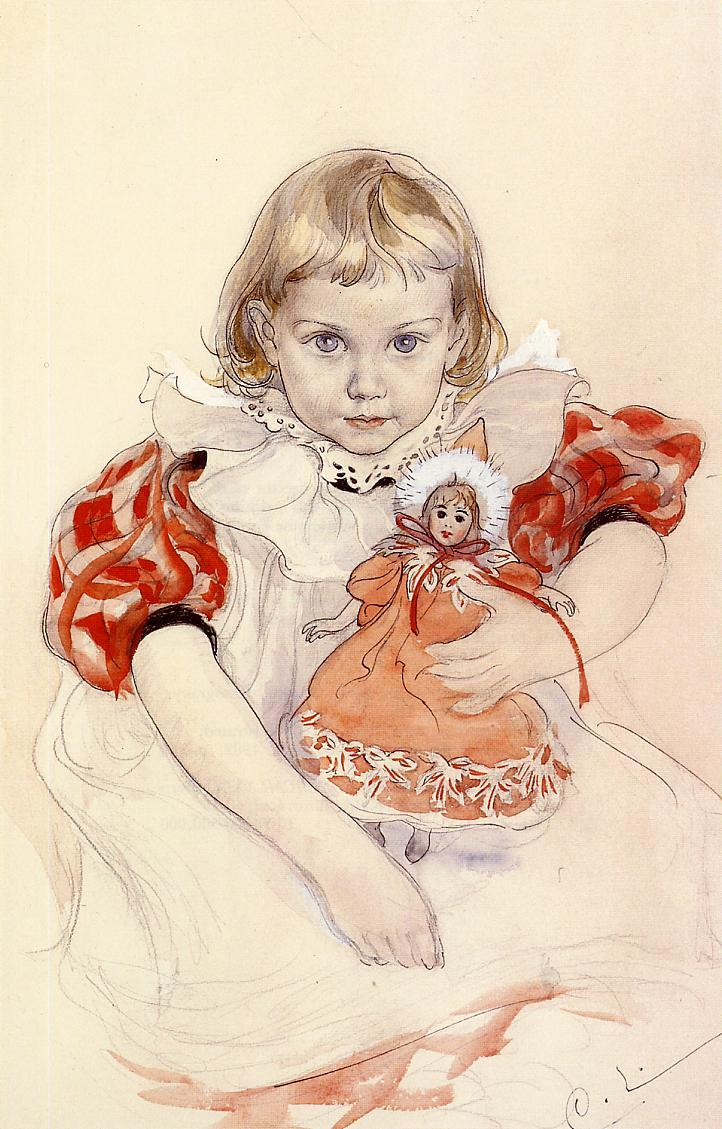 A Young Girl with a Doll - Carl Larsson