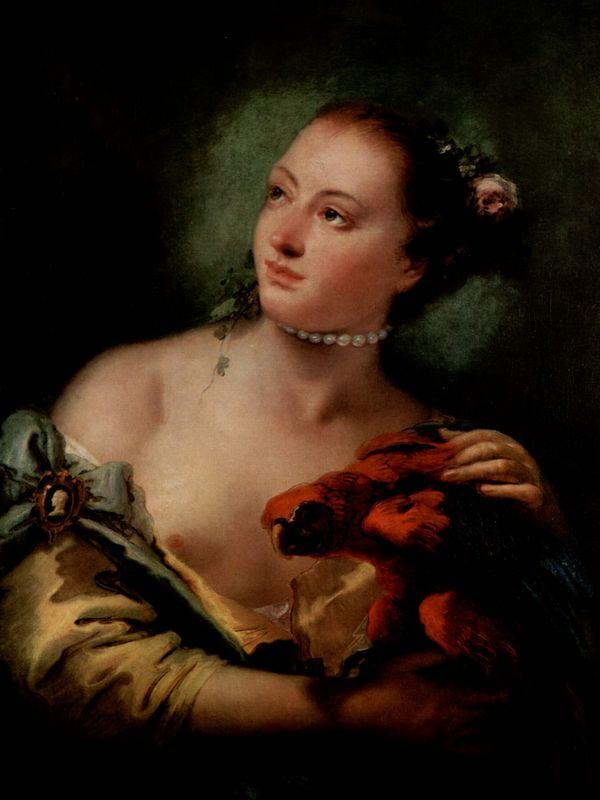 A Young Woman With a Macaw - Giovanni Battista Tiepolo