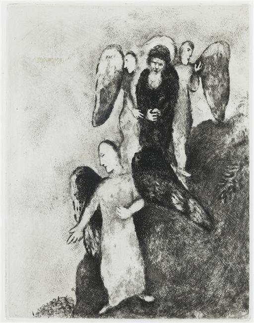 Abraham approaching Sodom with Three Angels (Genesis , XVIII, 16) - Marc Chagall