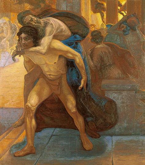 Aeneas saving his father through the flames of Troy - Emmanuel Zairis