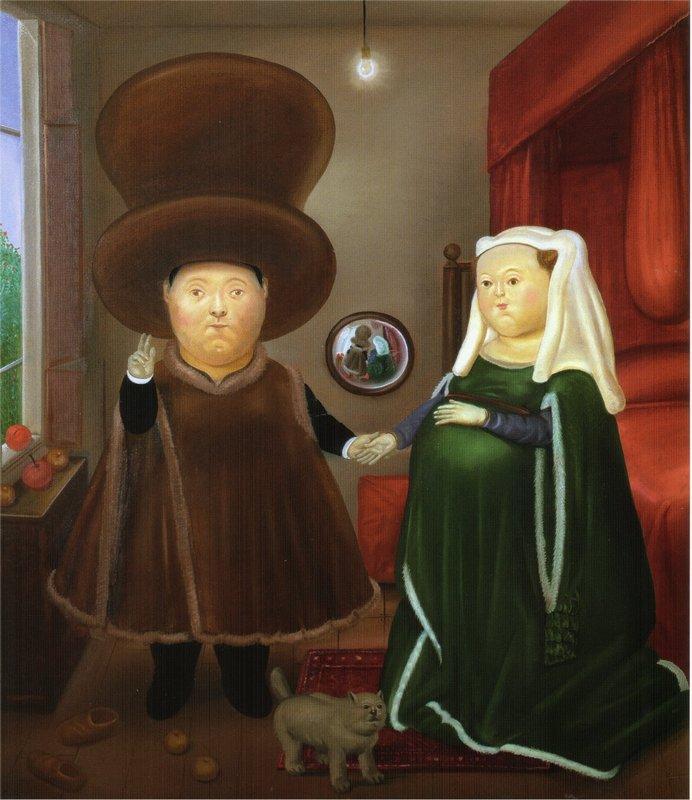 After the Arnolfini Van Eyck (2) - Fernando Botero