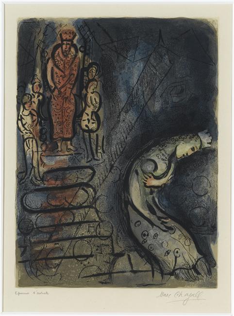 Ahasuerus sends Vasthi away - Marc Chagall
