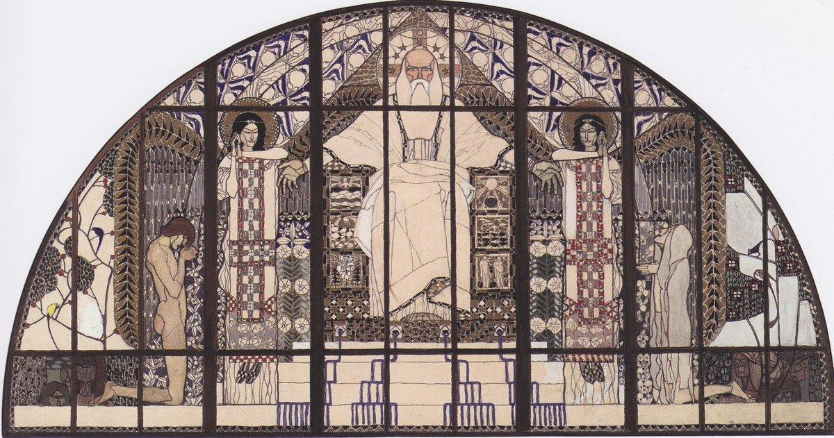 Am Steinhof Church, colored sketch of south window - Koloman Moser