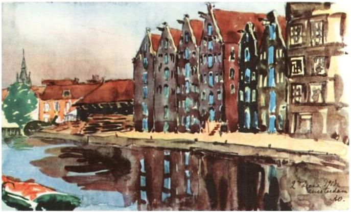 Amsterdam. The Old Warehouses. - Anna Ostroumova-Lebedeva