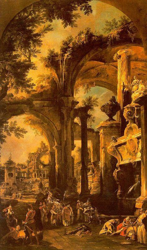 An Allegorical Painting of the Tomb of Lord Somers - Canaletto