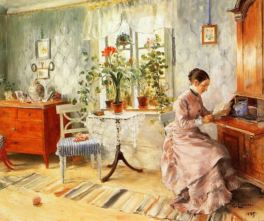 An Interior with a Woman Reading - Carl Larsson