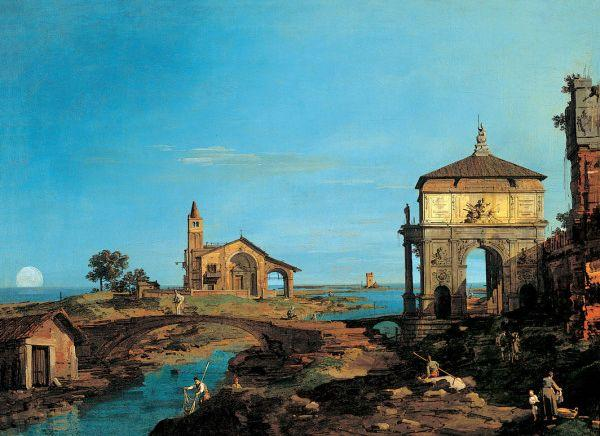An Island in the Lagoon with a Gateway and a Church - Canaletto