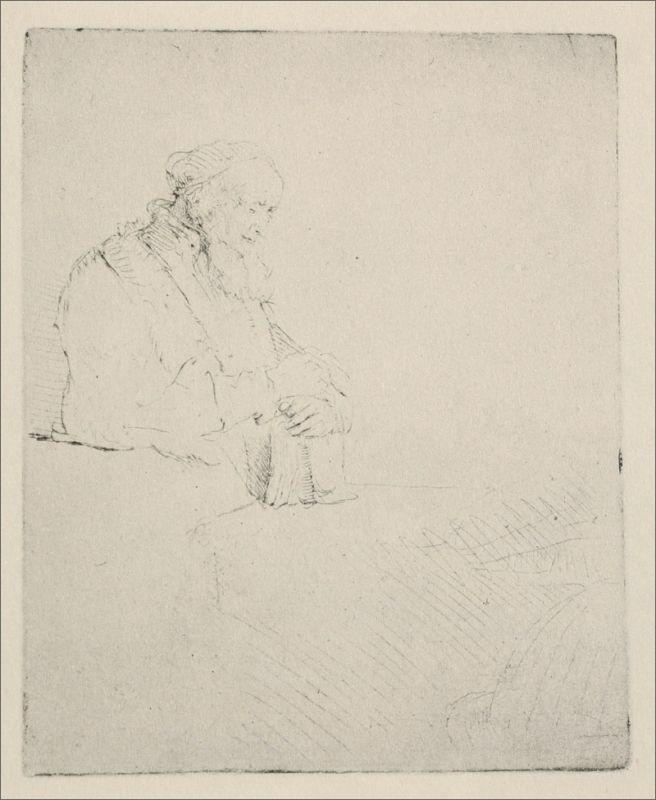 An Old man Resting his Hands Upon a Book - Rembrandt