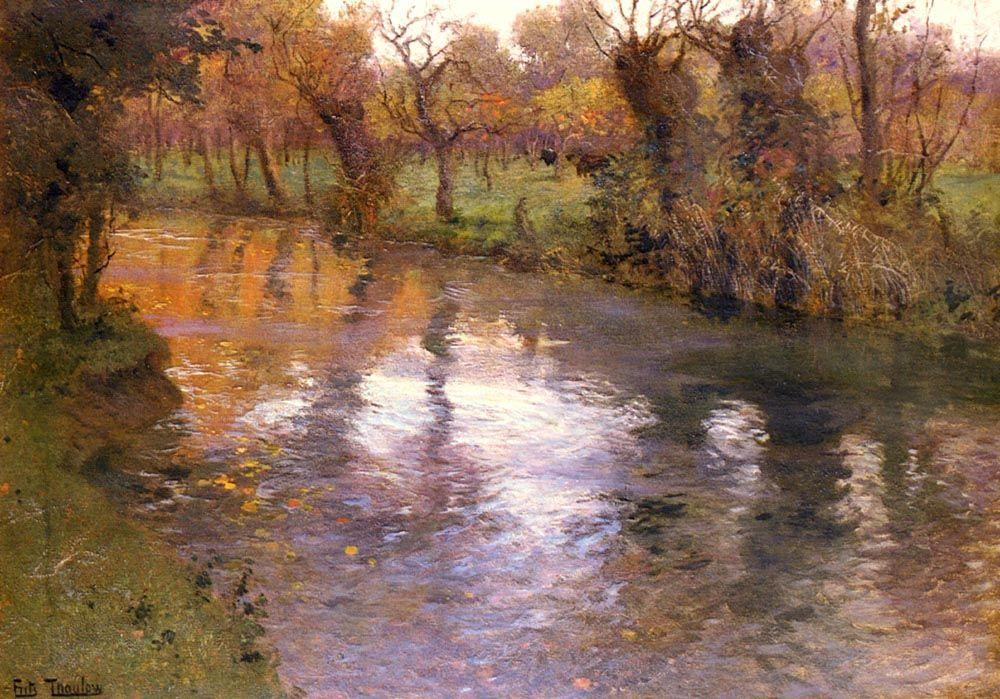 An Orchard on the Banks of a River - Frits Thaulow