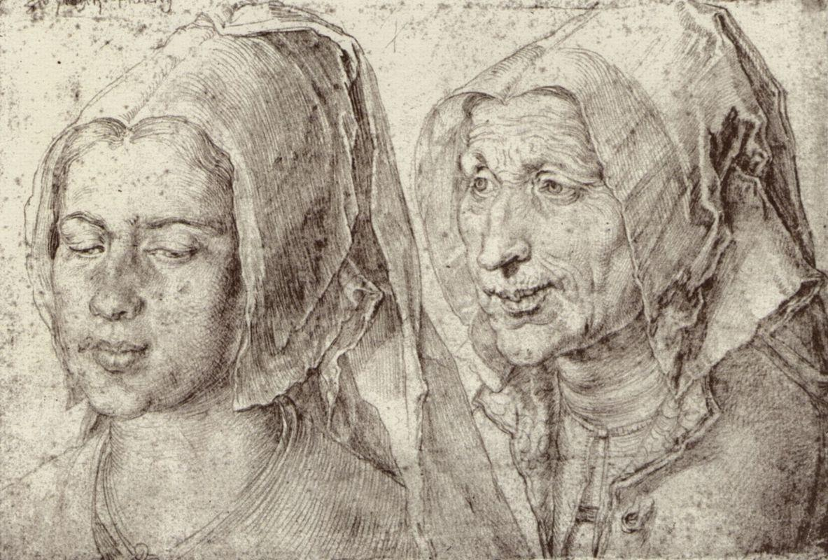 An Young and Old Woman from Bergen op Zoom - Albrecht Durer