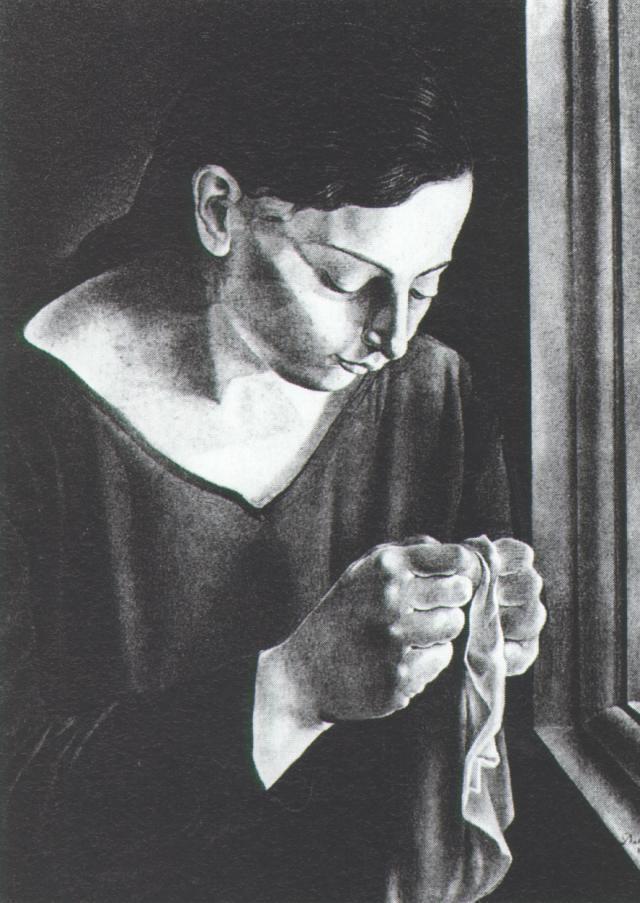 Ana Maria, Sewing - Salvador Dali