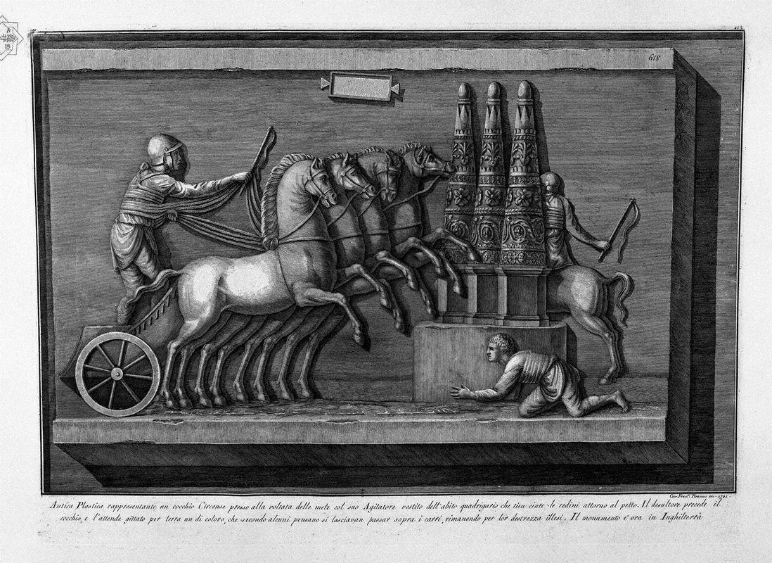 Ancient representing a plastic chariot circus at the turn of the destinations (inc F Piranesi) - Giovanni Battista Piranesi