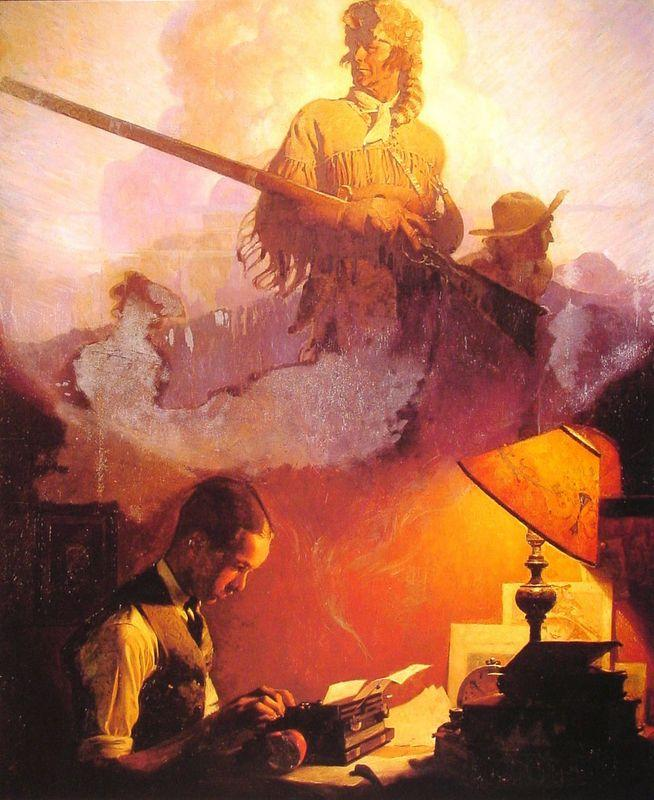 And Daniel Boone Comes to Life on the Underwood Portable - Norman Rockwell