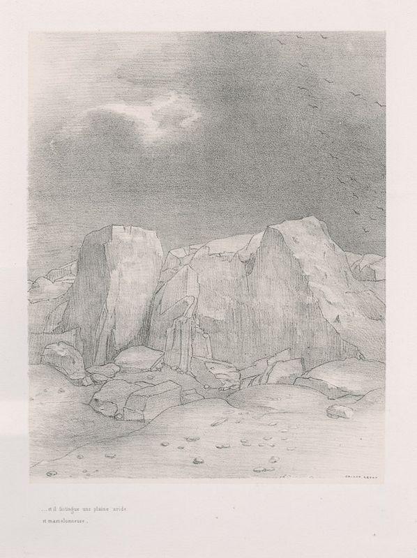 And he discerns an arid, knoll-covered plain (plate 7) - Odilon Redon