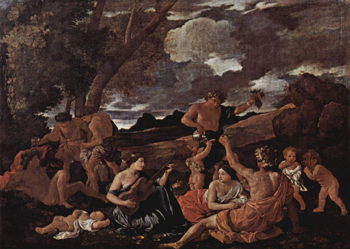 Andrians or The Great Bacchanal with Woman Playing a Lute - Nicolas Poussin