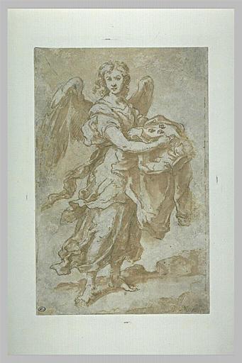 Angel holding the tunic and dice - Bartolome Esteban Murillo