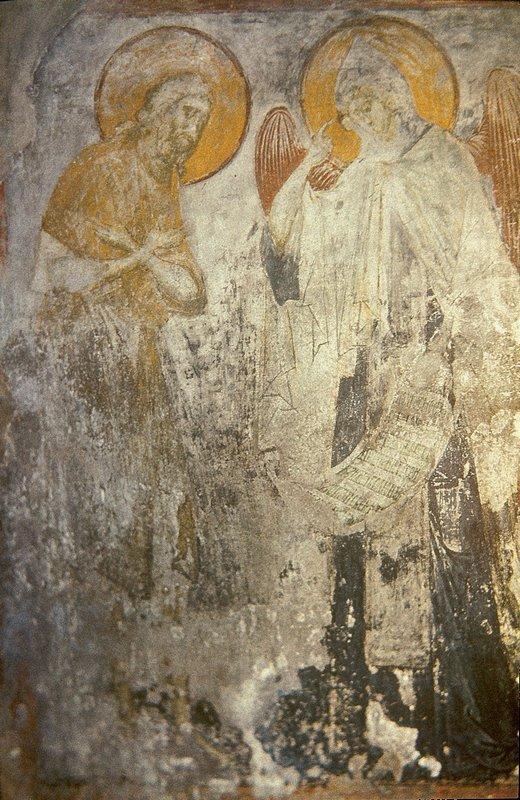 Angel presents Monk Pachomius cenobitic monastic charter. - Andrei Rublev