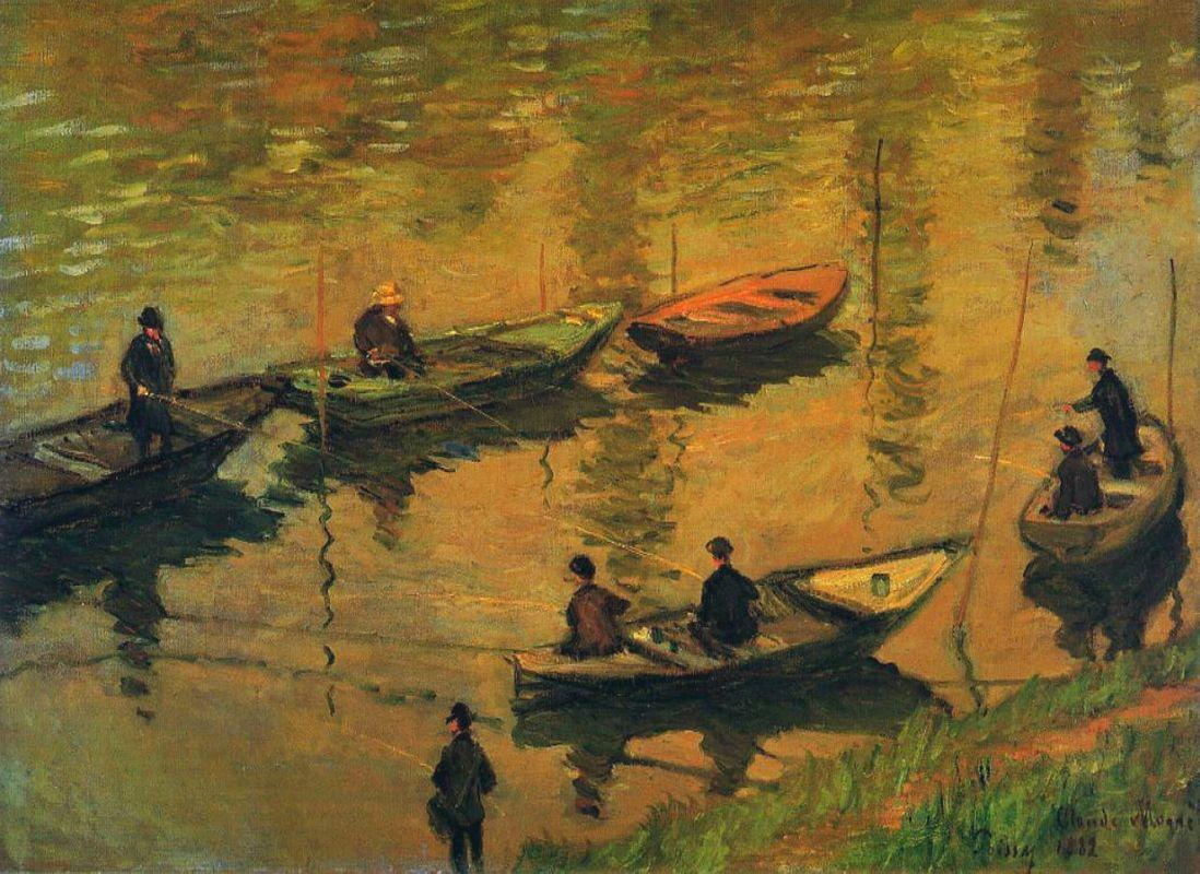 Anglers on the Seine at Poissy - Claude Monet