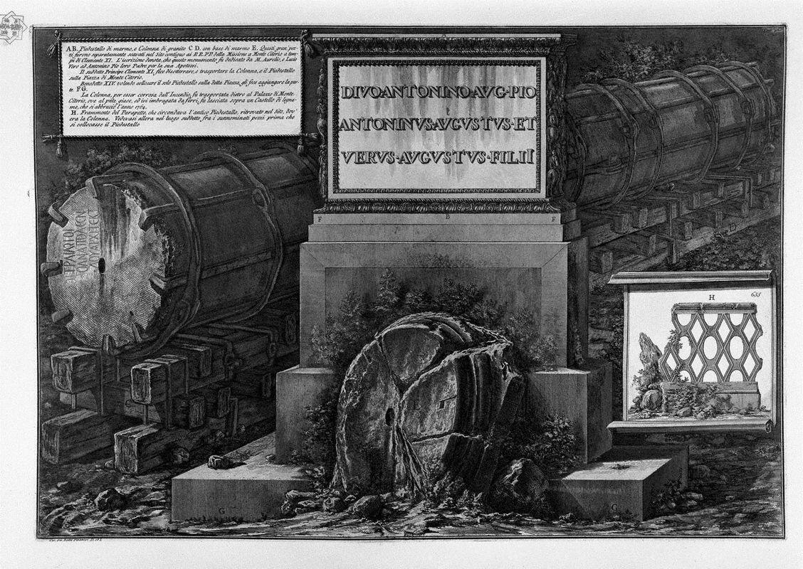 Another view of the above and the column of granite pedestal - Giovanni Battista Piranesi