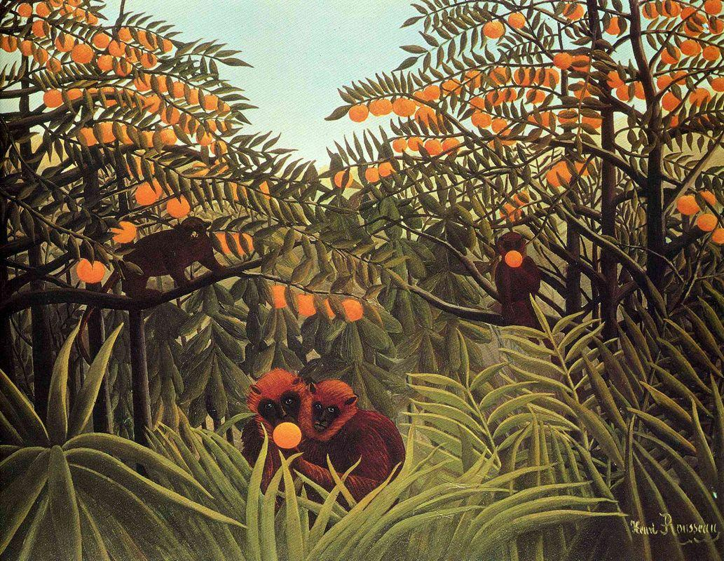 Apes in the Orange Grove - Henri Rousseau