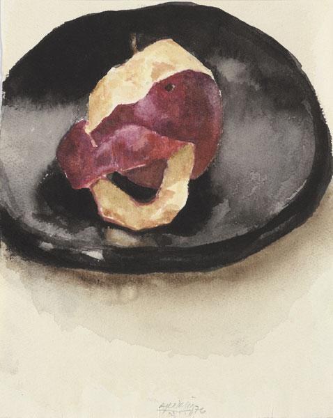 Apple, Half-Peeled on a Black Plate - Avigdor Arikha