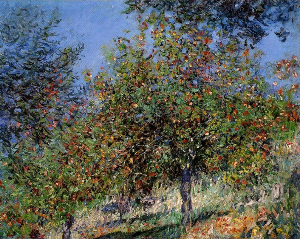 Apple Trees on the Chantemesle Hill - Claude Monet