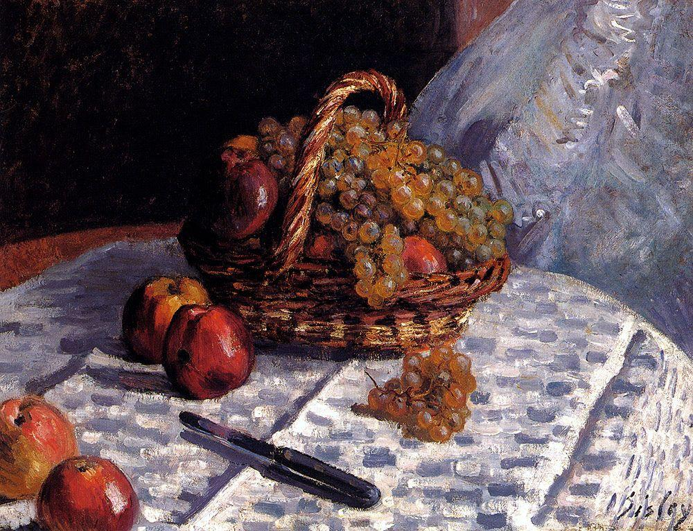 Apples and Grapes in a Basket - Alfred Sisley