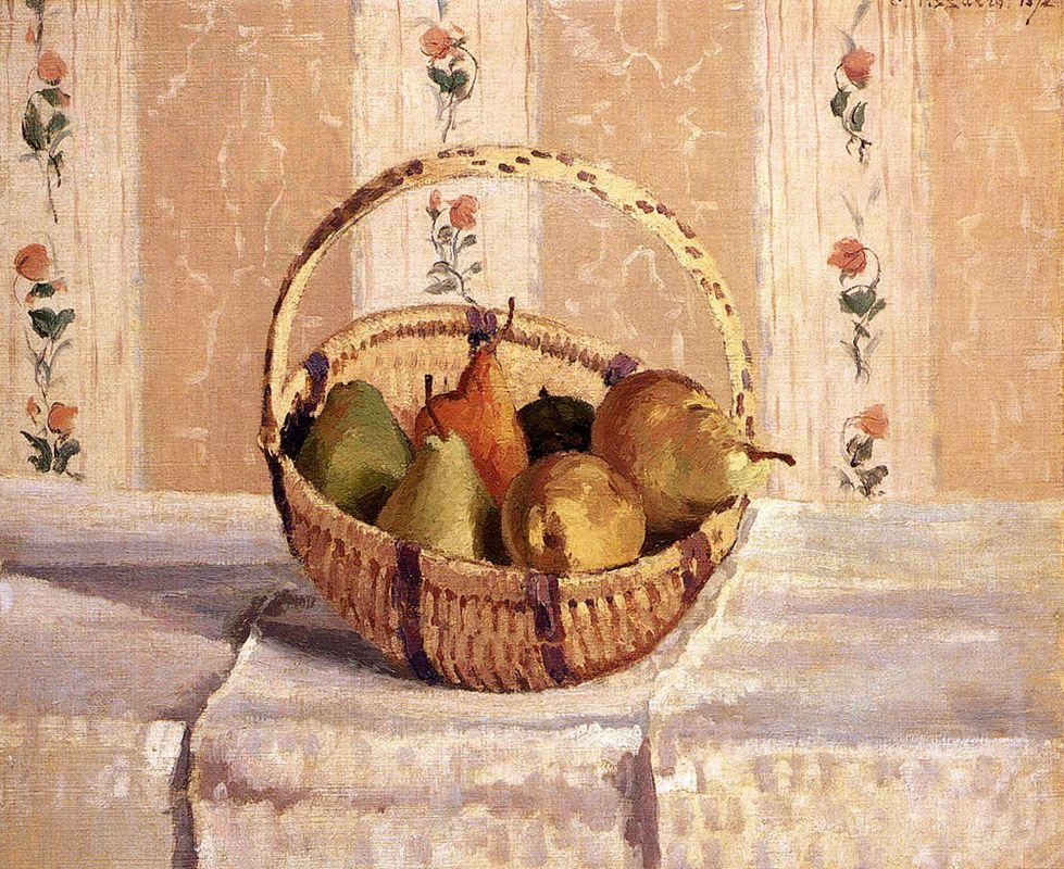 Apples and Pears in a Round Basket - Camille Pissarro
