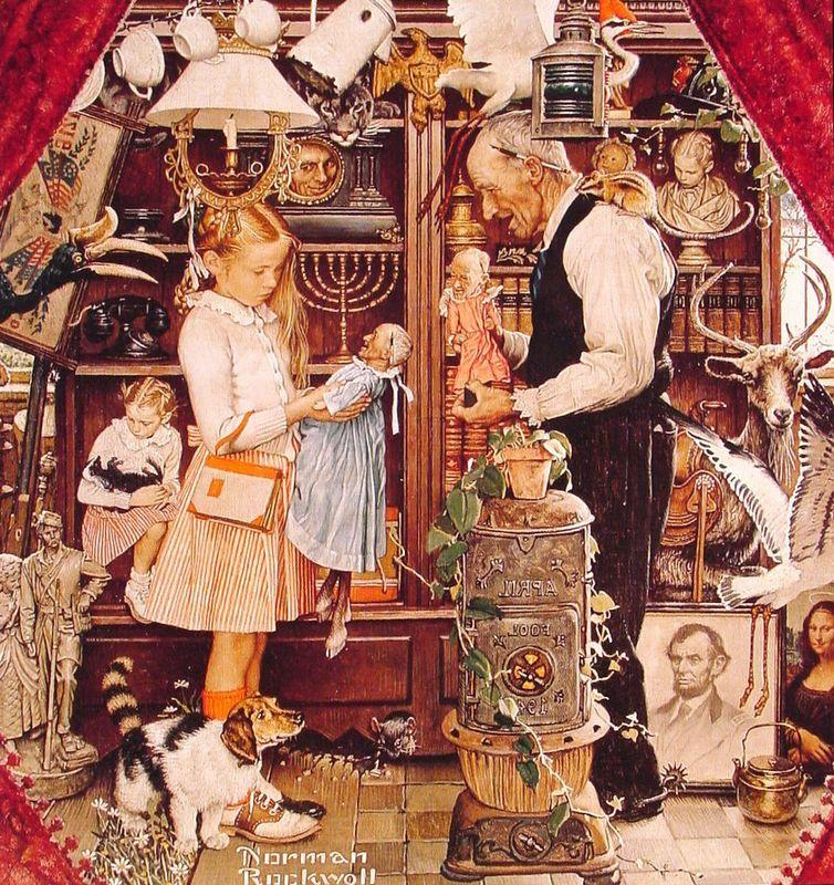 April Fool Girl with Shopkeeper - Norman Rockwell