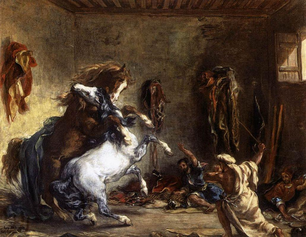 Arab Horses Fighting in a Stable - Eugene Delacroix