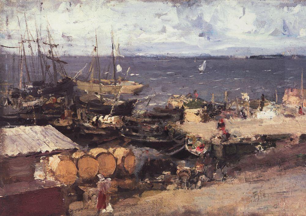 Arkhangelsk Port on Dvina  - Konstantin Korovin