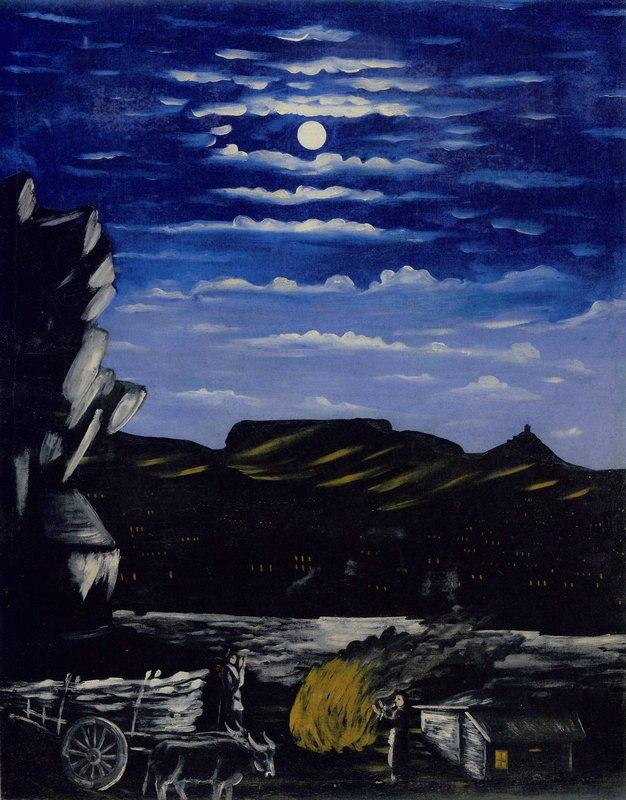 Arsenali Mountain at night - Niko Pirosmani