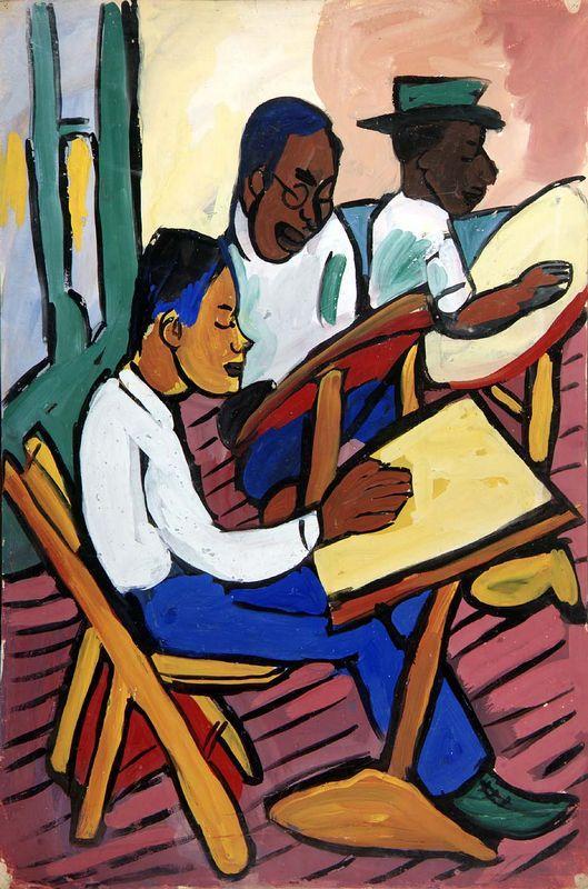 Art Class - Three Men - William H. Johnson