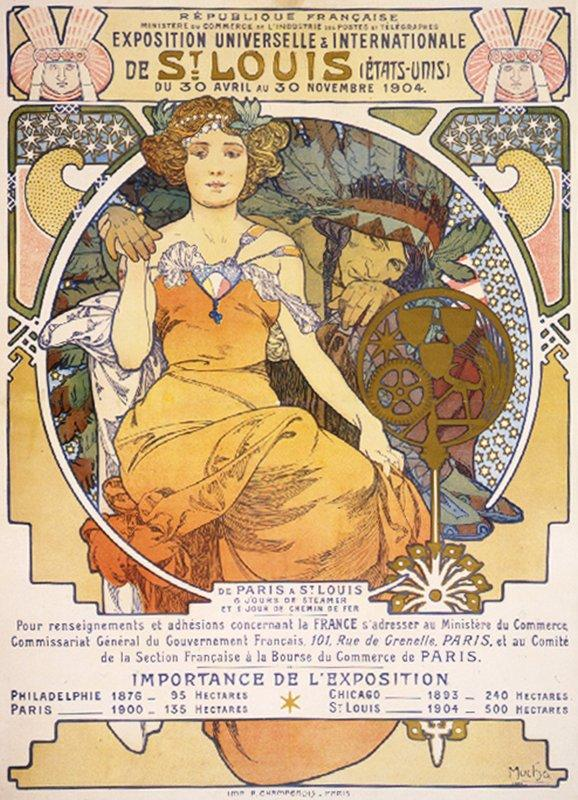 Art nouveau color lithograph poster showing a seated woman clasping the hand of a Native American - Alphonse Mucha