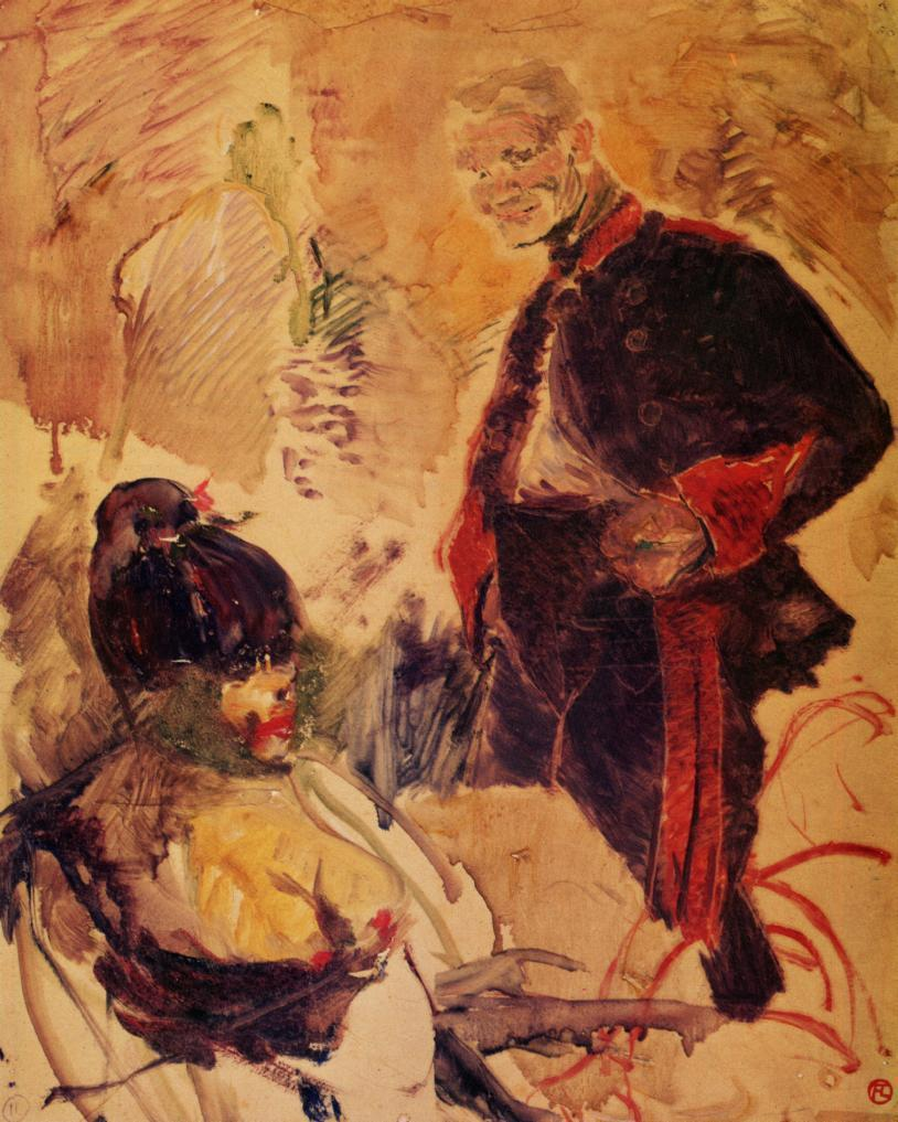 Artillerman and Girl - Henri de Toulouse-Lautrec