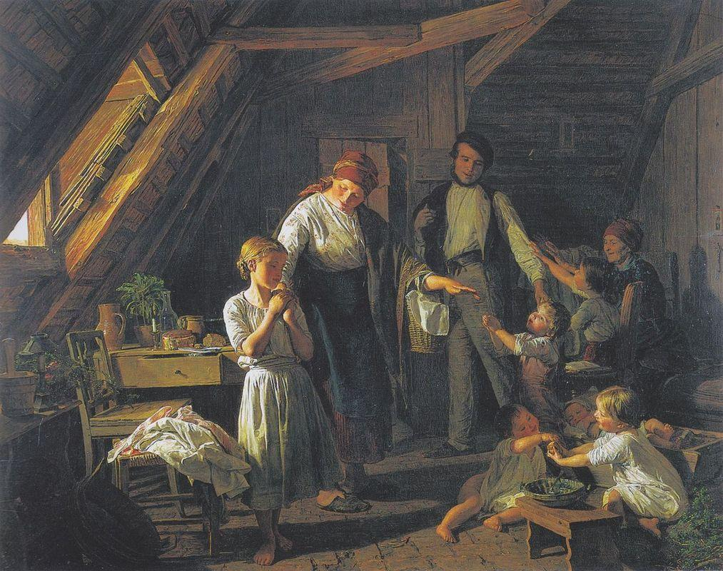 arting of the parents - the oldest child takes care of brothers and sisters in the absence of parents  - Ferdinand Georg Waldmuller
