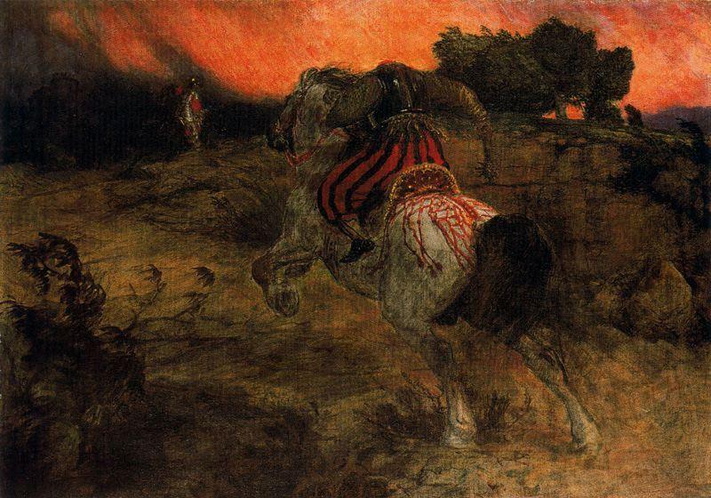 Astolf rides away with his head lost - Arnold Bocklin