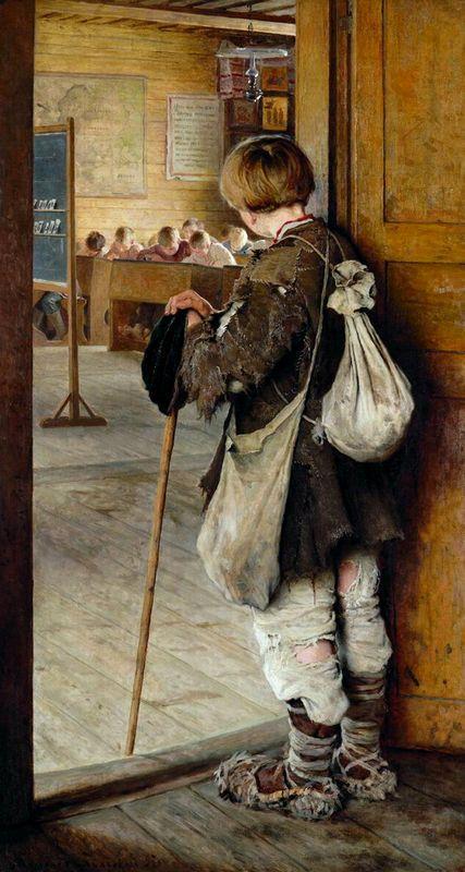 At School Doors - Nikolay Bogdanov-Belsky