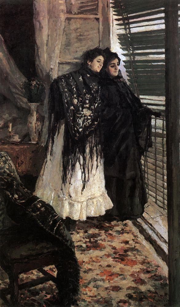 At the balcony.Spanish women Leonora and Ampara - Konstantin Korovin