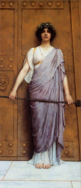 At the Gate of the Temple - John William Godward