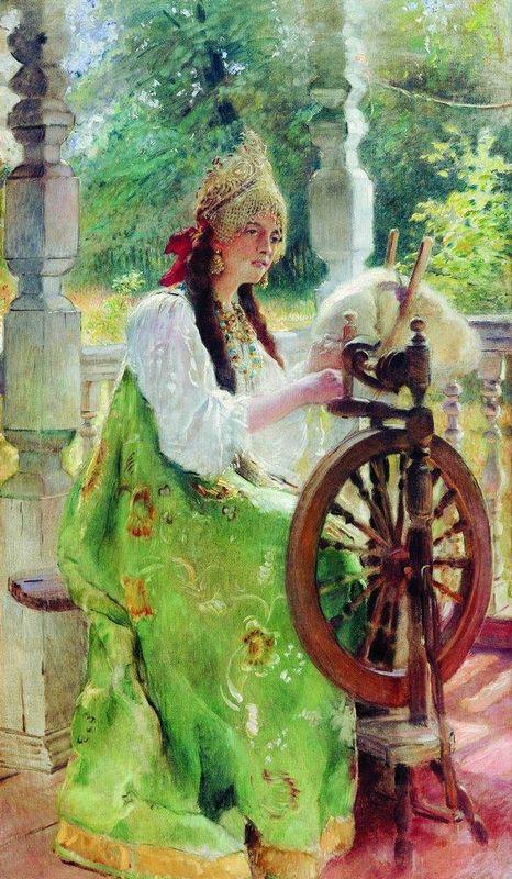 At the Spinning-Wheel - Konstantin Makovsky