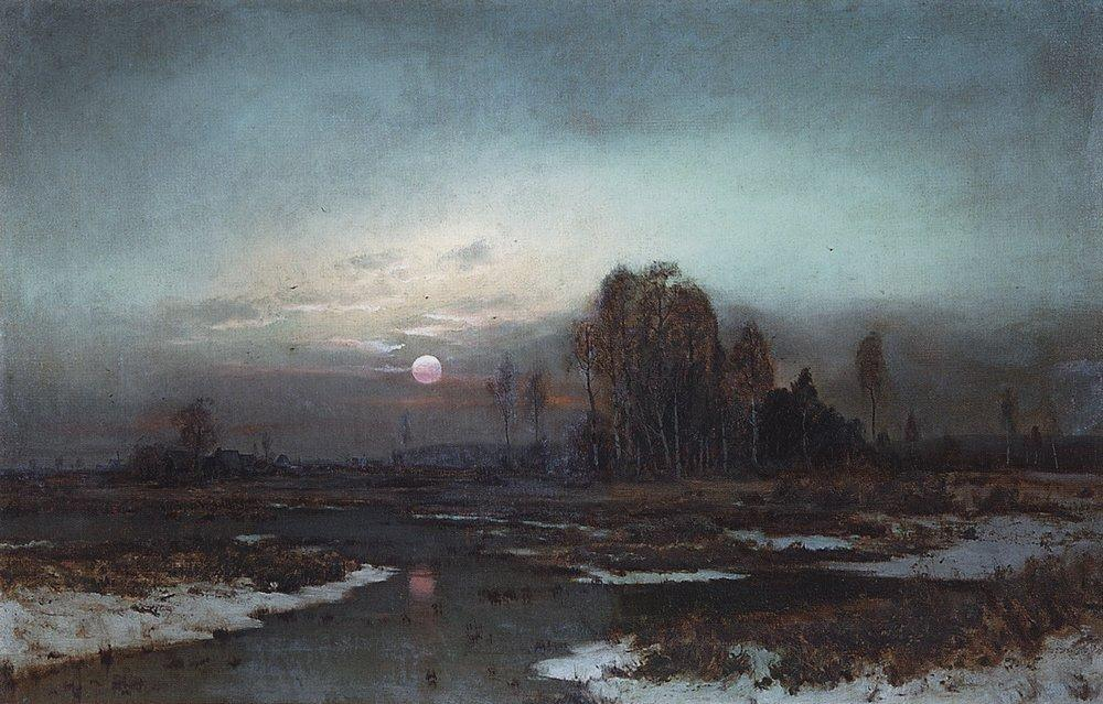 Autumn Landscape with a swampy river in the moonlight - Aleksey Savrasov