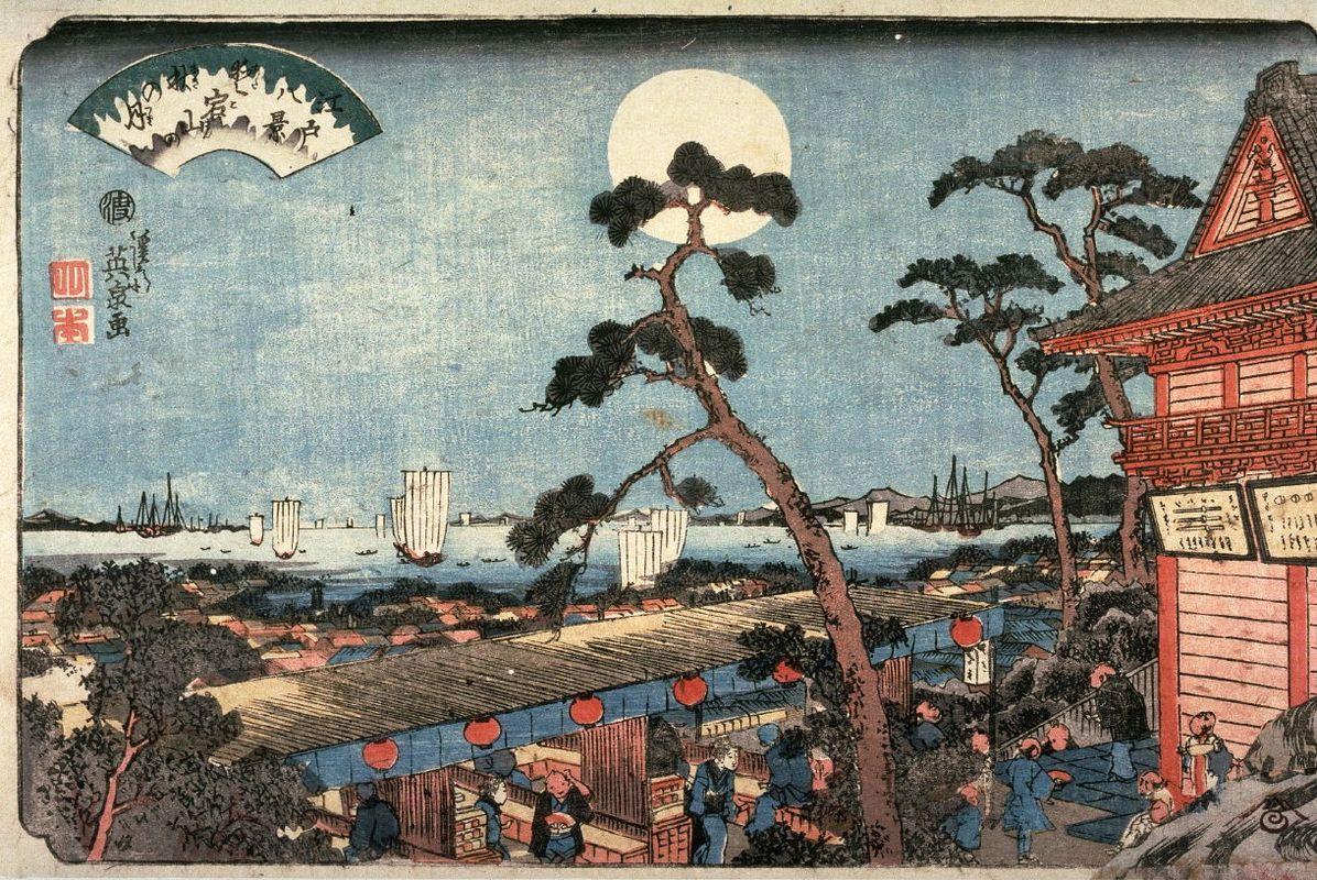 Autumn Moon over Atago Hill (Atagosan no aki no tsuki) from the series Eight Views of Edo - Keisai Eisen