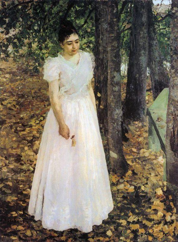 Autumn.Young Woman in a Garden - Konstantin Korovin