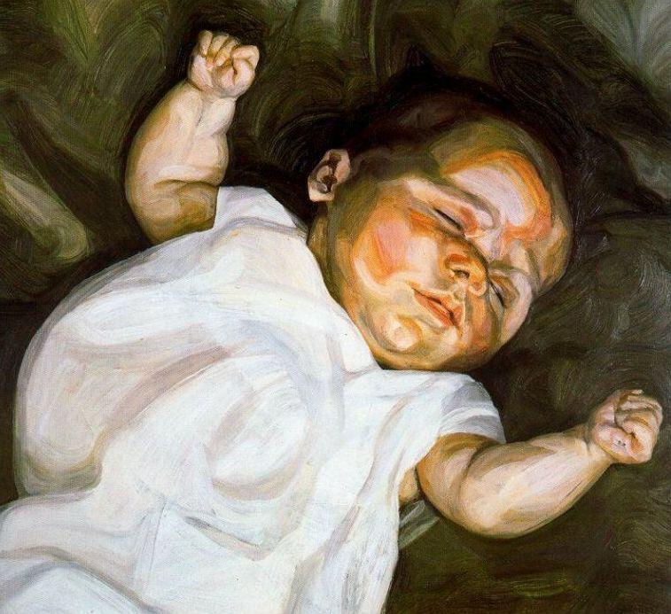Baby on a Green Sofa - Lucian Freud
