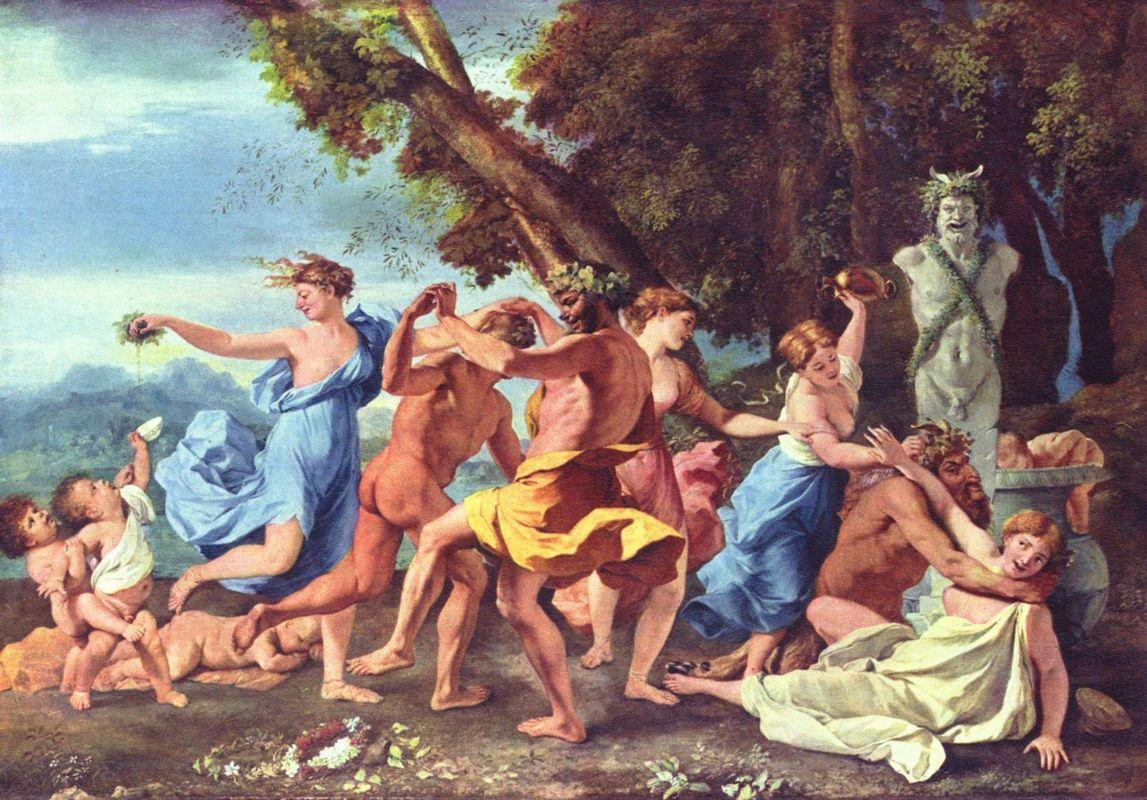 Bacchanal before a Statue of Pan - Nicolas Poussin