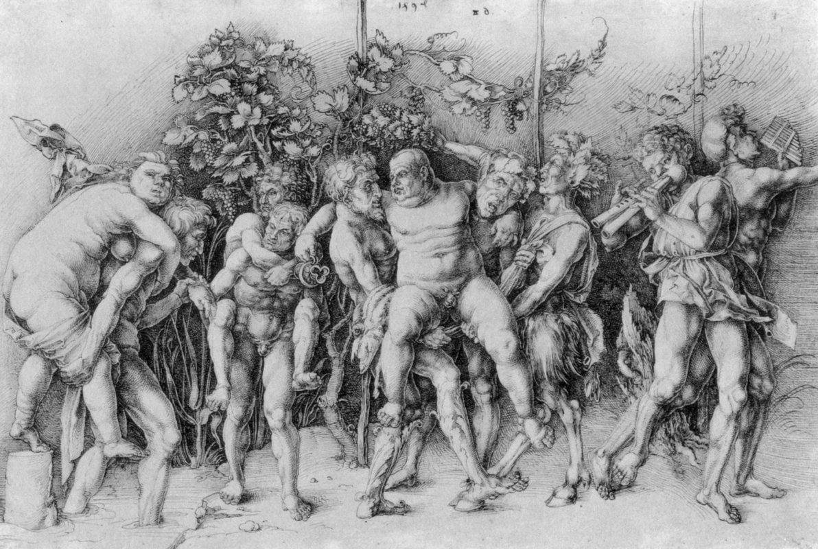 Bacchanal with Silenus - Albrecht Durer