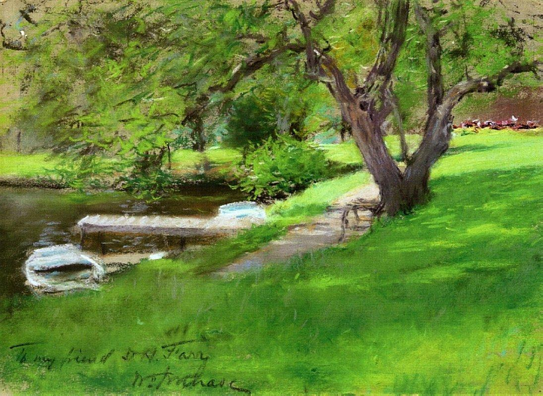 Bank of a Lake in Central Park - William Merritt Chase