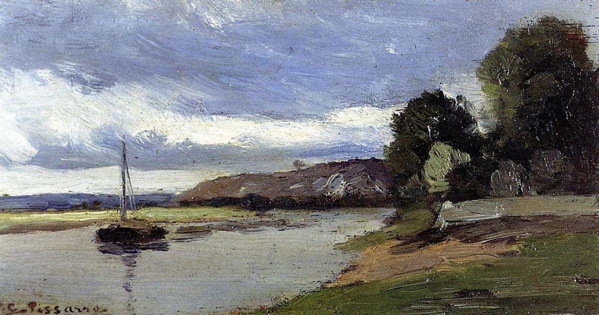 Banks of a River with Barge - Camille Pissarro