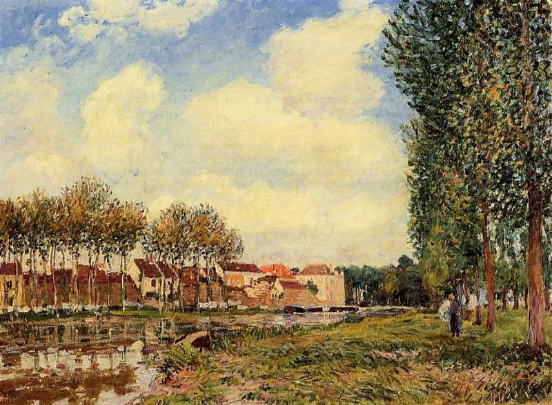 Banks of the Loing at Moret, Morning - Alfred Sisley